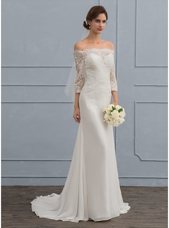 Trumpet/Mermaid Off-the-Shoulder Sweep Train Chiffon Wedding Dress