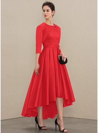 A-Linie U-Ausschnitt Asymmetrisch Satin Spitze Kleid für die Brautmutter mit Pailletten