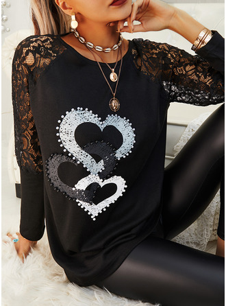 Lace Print Heart Round Neck Long Sleeves Casual Elegant Blouses