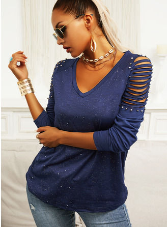 Beaded Sequins V-Neck Long Sleeves Casual Blouses