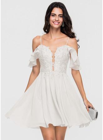 A-Line/Princess Sweetheart Short/Mini Chiffon Homecoming Dress With Lace Beading Sequins Cascading Ruffles