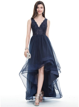 A-Line/Princess V-neck Asymmetrical Tulle Prom Dresses With Beading