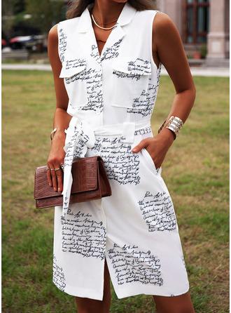 Распечатать ножны безрукавный Мини Повседневная Платья-рубашки Модные платья