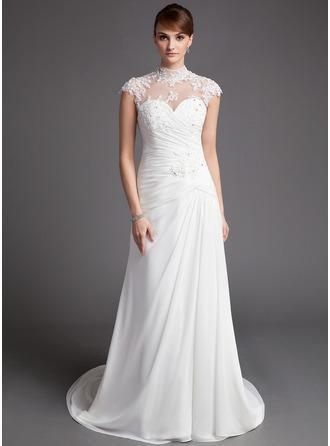 A-linjeformat Hög hals Court släp Chiffong Tyll Bröllopsklänning med Rufsar Spetsar Pärlbrodering