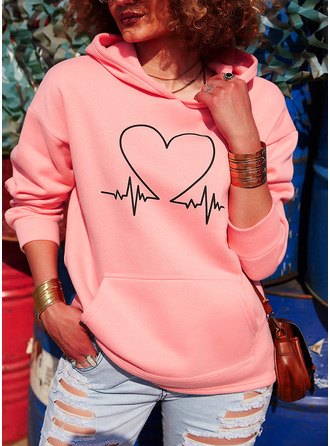 Print Pockets Heart Long Sleeves Hoodie