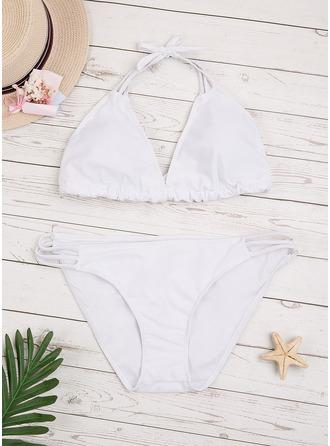 Bikinis Del chinlon Color sólido Cintura Baja De mujer Sí Ropa de baño