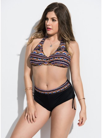 Schöne Bunt Chinlon Bikinis Badeanzug