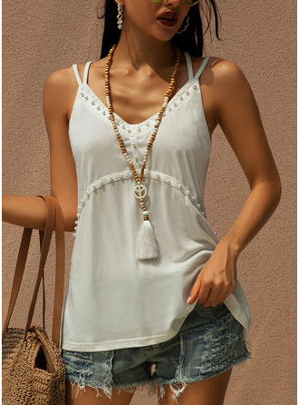 Solid Sleeveless Polyester Spaghetti Straps Tank Tops Blouses