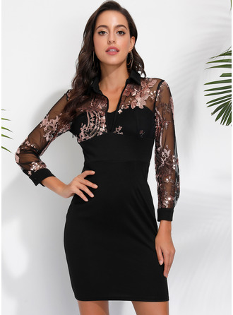 Floral Print Bodycon Long Sleeves Mini Elegant Dresses