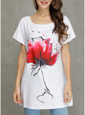 Floral Round Neck Short Sleeves Casual T-shirt