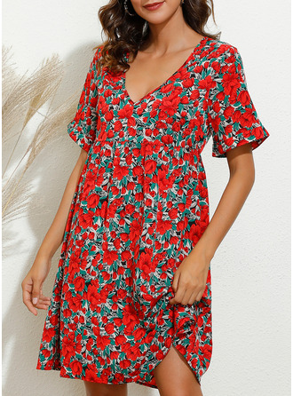 Floral Print Shift Short Sleeves Mini Casual Dresses
