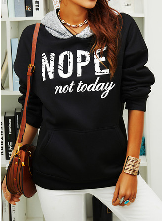 Print Sequins Figure Long Sleeves Hoodie (1001254979)