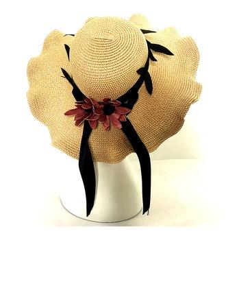 Dames Klassiek Rotan Straw met strik Slappe Hat/Strohoed