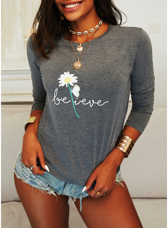 Figure Animal Print Floral Round Neck Long Sleeves Casual T-shirt
