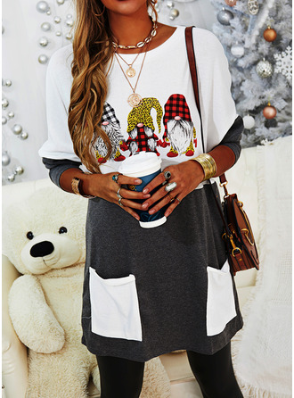 Print Grid Leopard Round Neck Long Sleeves Christmas Sweatshirt