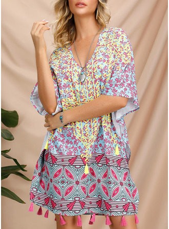 Embroidery Print Shift 1/2 Sleeves Mini Boho Casual Tunic Dresses