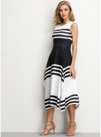 Striped A-line Sleeveless Asymmetrical Casual Dresses