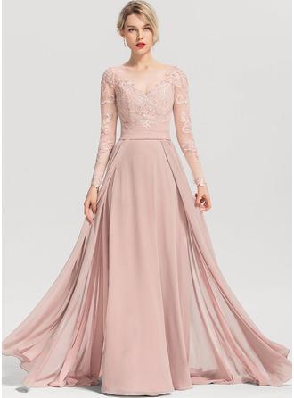 Vestidos princesa/ Formato A Decote redondo Sweep/Brush trem Tecido de seda Vestido de festa