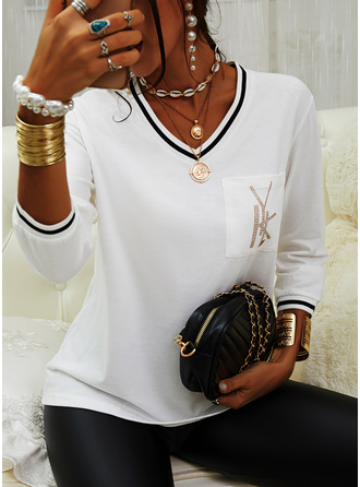 Print V-Neck 1/2 Sleeves Casual T-shirt