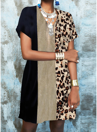 Leopard Color Block Print Shift Short Sleeves Mini Elegant Dresses