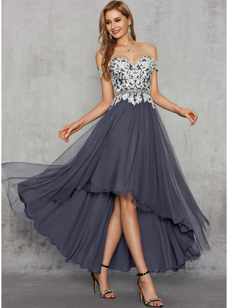 A-Line Off-the-Shoulder Asymmetrical Chiffon Lace Evening Dress With Beading