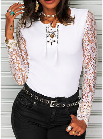 Figure Lace Solid V-Neck Long Sleeves Casual Blouses