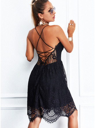 Lace Solid Backless A-line Sleeveless Mini Little Black Sexy Skater Type Dresses