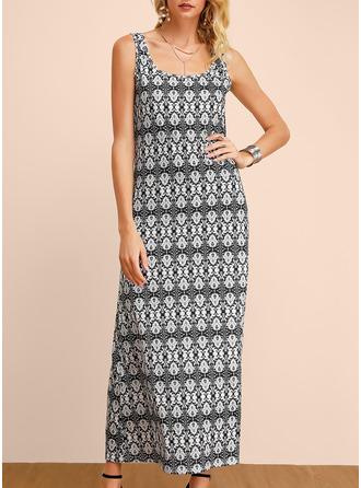 Print A-line Sleeveless Maxi Casual Dresses