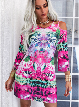 Blommig Print Shiftklänningar 3/4 ärmar Mini Fritids Tunika Modeklänningar