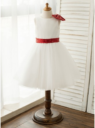 A-Line/Princess Knee-length Flower Girl Dress - Satin/Tulle/Sequined Sleeveless With Sash/Sequins/Bow(s)
