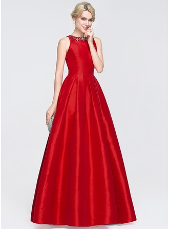 A-Line/Princess Scoop Neck Floor-Length Taffeta Prom Dress With Beading Sequins