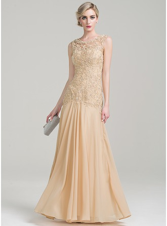 Vestidos princesa/ Formato A Decote redondo Longos tecido de seda Renda Vestido para a mãe da noiva com Beading lantejoulas
