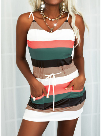 Color Block Sheath Sleeveless Mini Casual Type Dresses
