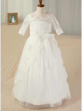 Ball Gown Sweep Train Pageant Dresses - Satin/Lace 1/2 Sleeves Bateau With Appliques