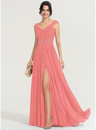 A-Line V-neck Floor-Length Chiffon Evening Dress With Beading Sequins