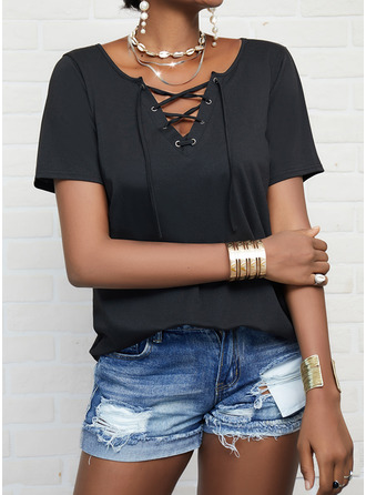 Solid Lace-up V-Neck Short Sleeves Casual Blouses