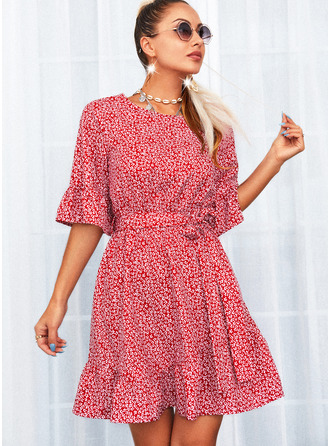 Print A-line 1/2 Sleeves Mini Casual Skater Dresses