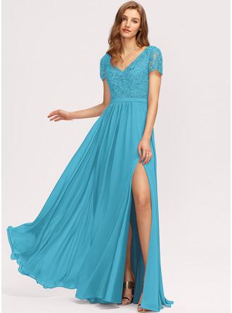 A-Line V-neck Floor-Length Chiffon Evening Dress With Split Front