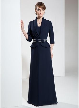 A-Linie/Princess-Linie V-Ausschnitt Bodenlang Chiffon Kleid für die Brautmutter