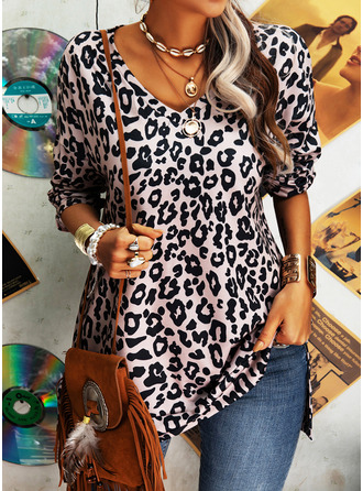 Leopard V-Neck Long Sleeves Casual Blouses (1003255042)