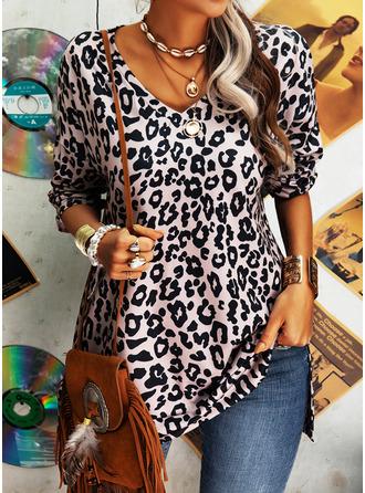 Leopard V-Ausschnitt Lange Ärmel Lässige Kleidung Blusen