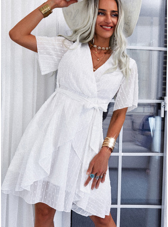 Solid A-line Short Sleeves Mini Casual Vacation Skater Wrap Dresses