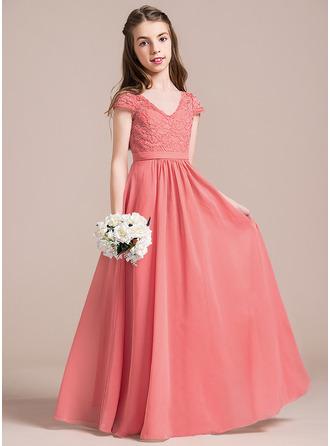 A-Line/Princess V-neck Floor-Length Chiffon Lace Junior Bridesmaid Dress