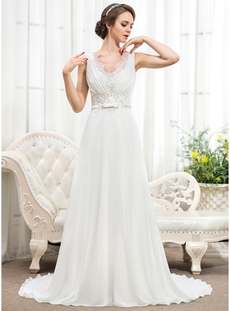A-Line/Princess V-neck Court Train Chiffon Wedding Dress With Ruffle Lace Beading Sequins Bow(s)