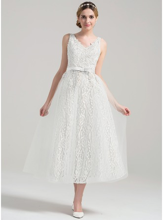 A-Line/Princess V-neck Tea-Length Tulle Lace Wedding Dress With Beading Sequins Bow(s)