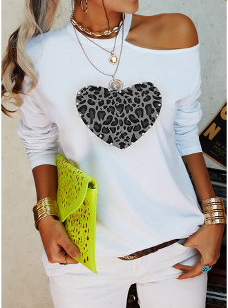 Leopard Print Heart One Shoulder Long Sleeves Casual Blouses