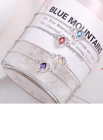 Kalp Şekilli alaşım Kristal Ile İmitasyon Kristal Moda Bilezikler (Tek parça Satılan)