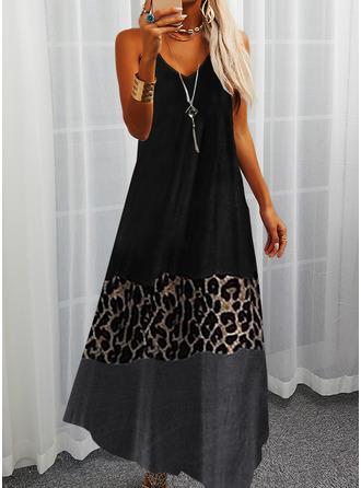 Leopard Color Block Print Shift Sleeveless Maxi Casual Type Dresses