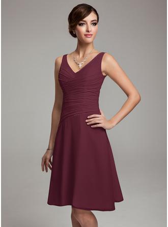 A-Line V-neck Knee-Length Chiffon Bridesmaid Dress With Ruffle Beading Sequins