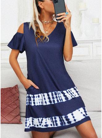 Tisk Šaty Shift Krátké rukávy Mini Neformální Tunika Módní šaty